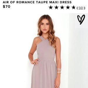 Lulu's Air of Romance Taupe Maxi dress